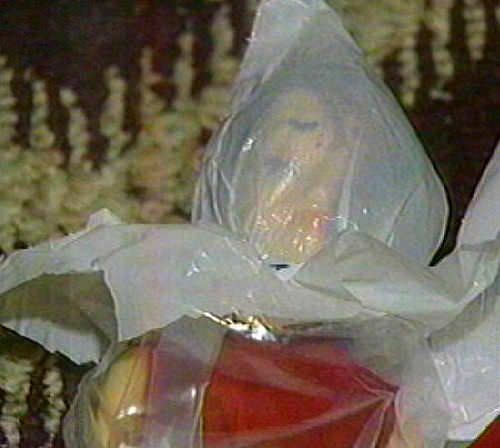 The PJ doll wrapped with a plastic bag tied around its head found in park