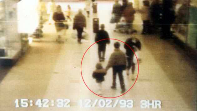 A CCTV footage of Jon Venables and James Bulger with James Thompson