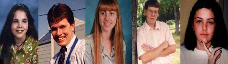 Victims of Paul Reid: Sarah Jackson, Steve Hampton, Andrea Brown, Robert Sewell, and Michelle Mace