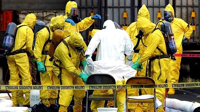 Workers on Capitol Hill after a senator received an anthrax-contaminated letter.