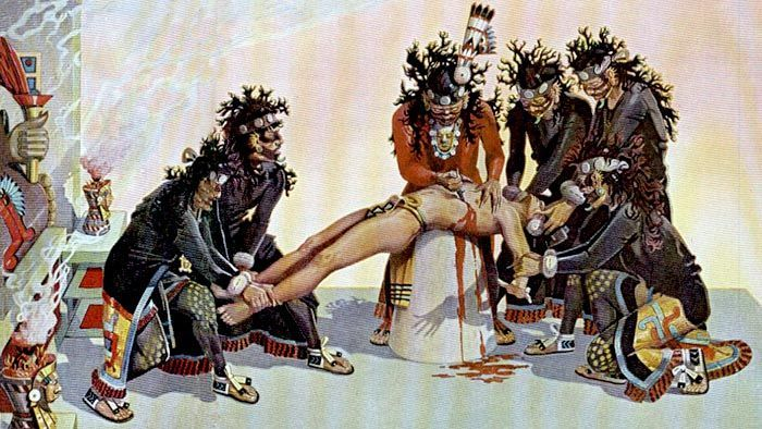 Human sacrifice was a religious practice of the pre-Columbian Aztec civilization