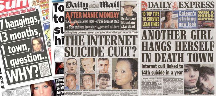 The Bridgend Suicide Incidents newspaper headlines