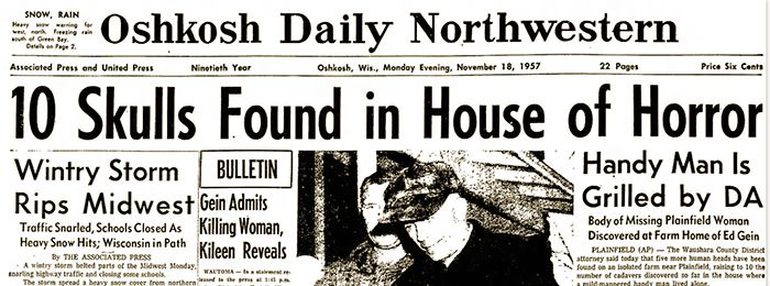 Ed Gein's Newspaper Headline