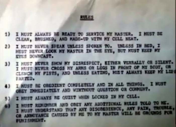 The rules on the wall of Lake's & Charles' bunker