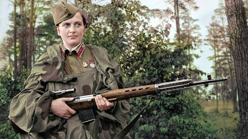 A colorized photo of Soviet sniper Lyudmila Pavlichenko.