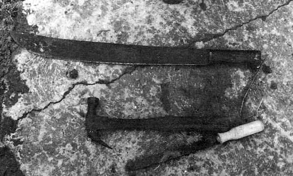 Weapons being used for sacrifice