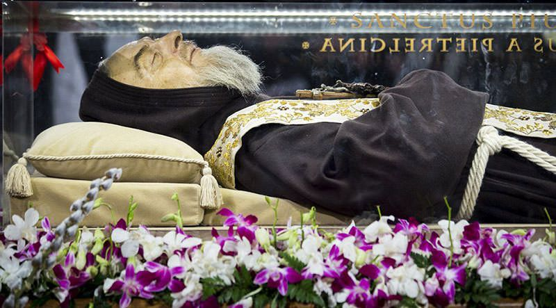 The mummified body of Padre Pio