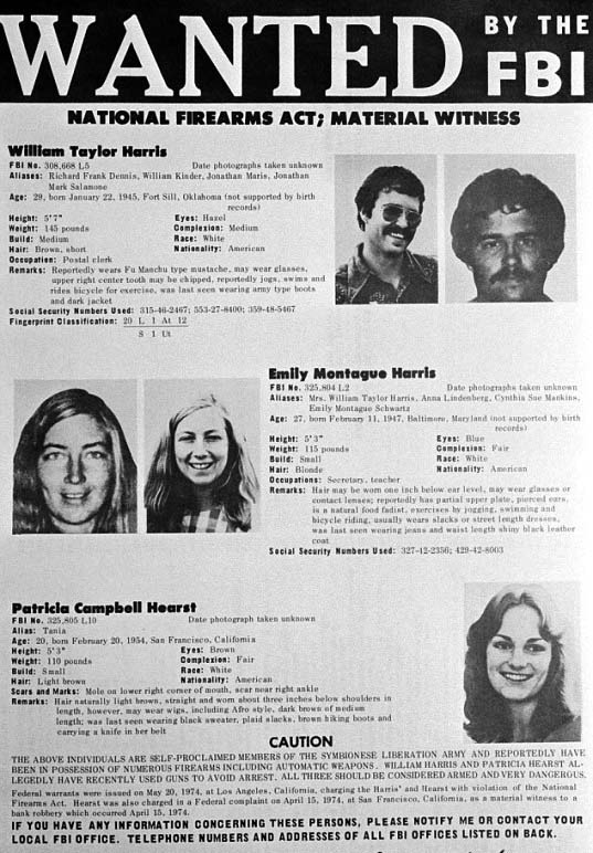Patty Hearst FBI Wanted Poster