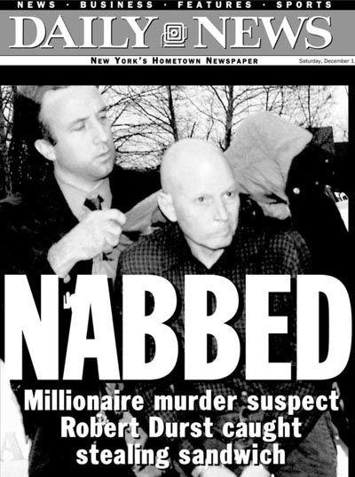Robert Durst caught stealing a sandwich newspaper cover.