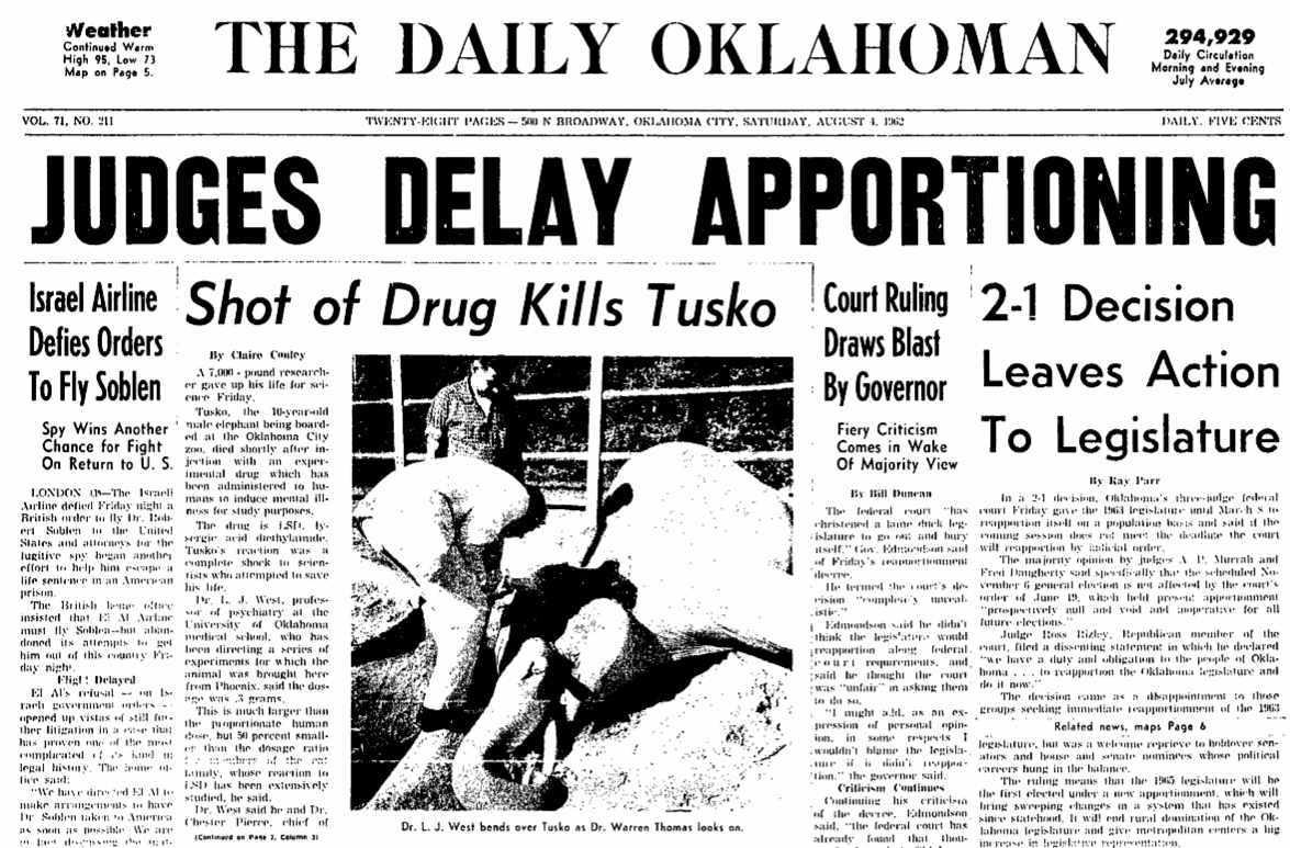 Tusko the LSD Elephant newspaper headlines.